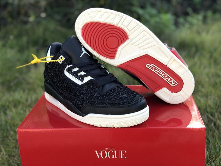 "2018 Vogue x Air Jordan 3 ""AWOK"" Black/Sail Mens Shoes"