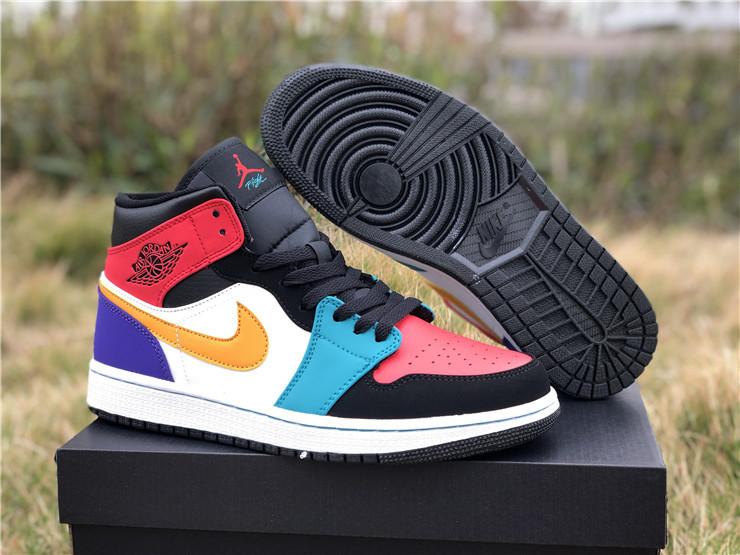 "2019 Release Air Jordan 1 Mid ""Multi-Color"" Men's Basketball Shoes"