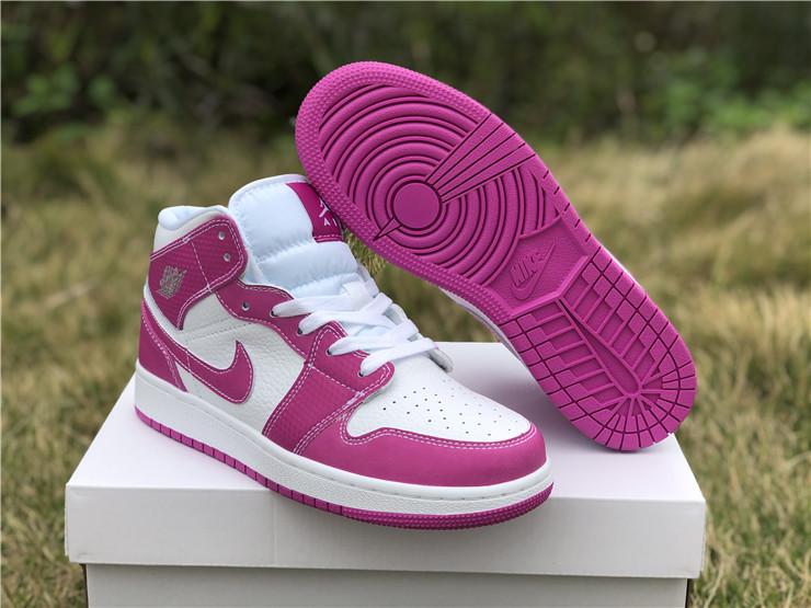 Air Jordan 1 Mid GG Grey Fog/Pink White Girls Shoes For Sale