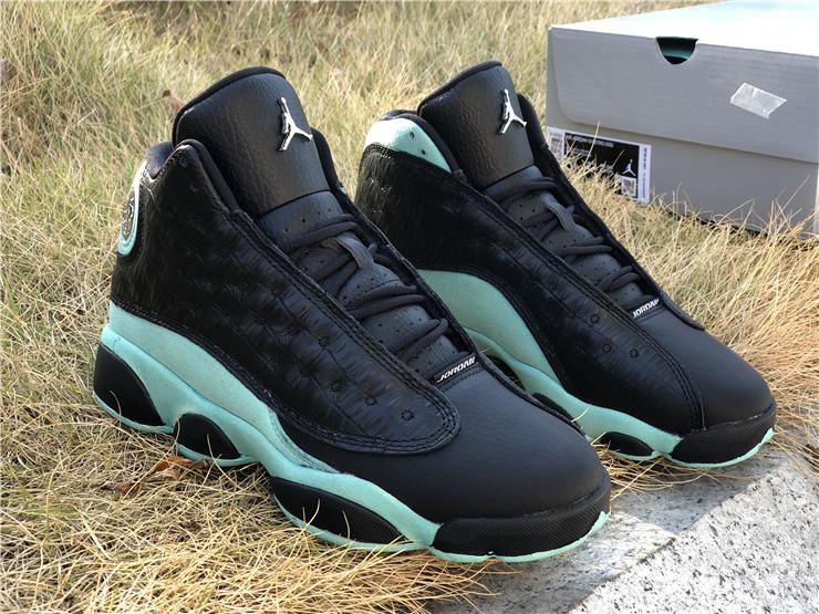 2020 Girls Shoes Air Jordan 13 Retro Black Island Green For Cheap