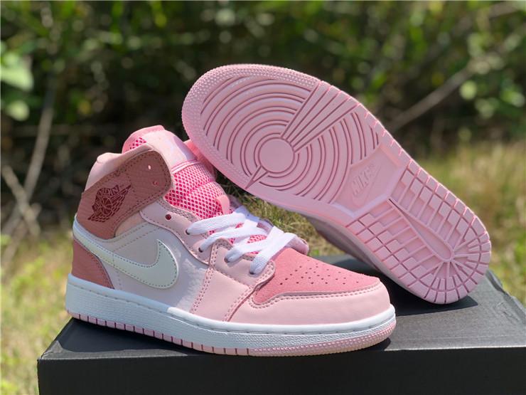 2020 Air Jordan 1 Mid Digital Pink For Girls Cw5379 600
