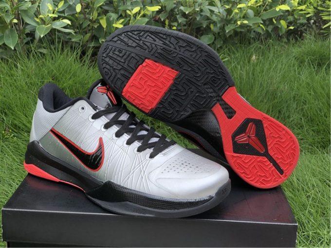 2020 Mens Nike Kobe 5 Wolf Grey Black-Daring Red Sale 386429-006
