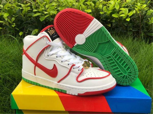 Paul Rodriguez x Nike SB Dunk High White University Red Green CT6680-100