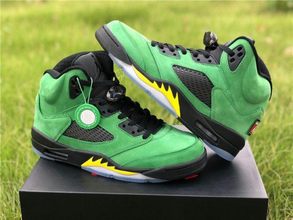 2020 Mens Air Jordan 5 Retro Oregon Ducks Black Green CK6631-307