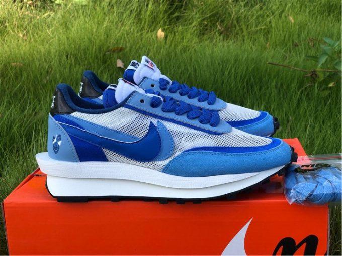 2021 Nike LVD Waffle Daybreak x Sacai White Lake Blue Sale BV2552-401