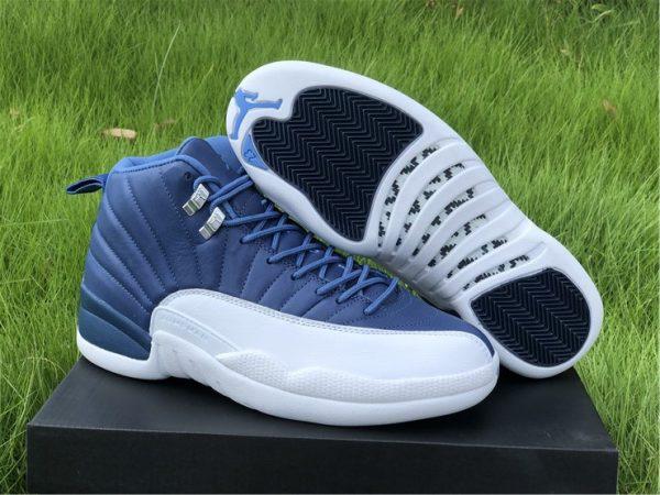 Air Jordan 12 Indigo Stone Blue Mens Basketball Shoes For Sale 130690-404