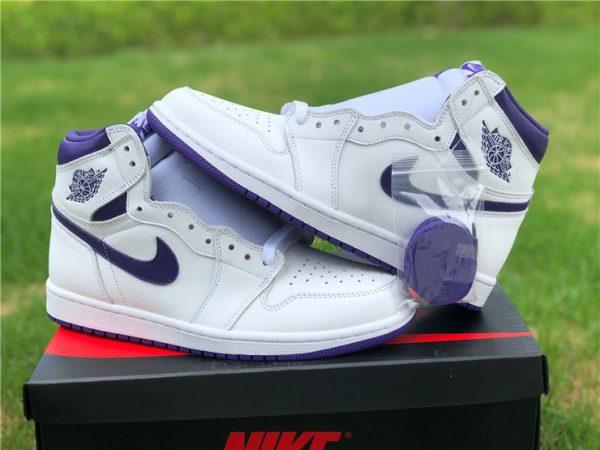 Buy Air Jordan 1 High White Purple Men's Basketball Shoes