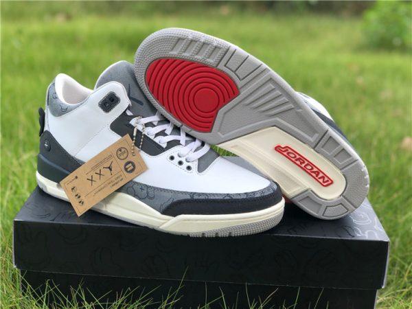 KAWS x Air Jordan 3 Fresh Water White/Light Grey For Men