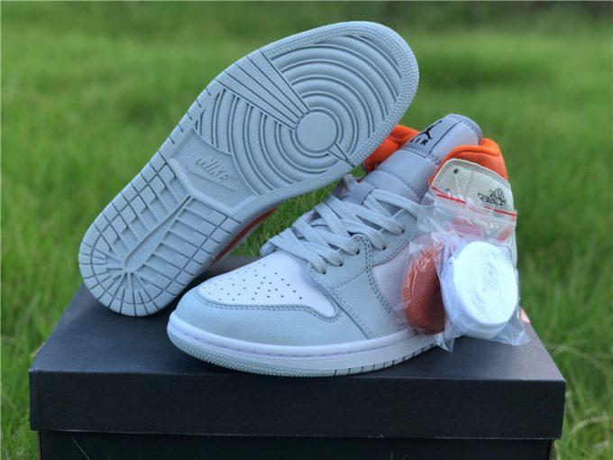 Nike Air Jordan 1 Mid SE Starfish White Orange Shoes CW7591-100