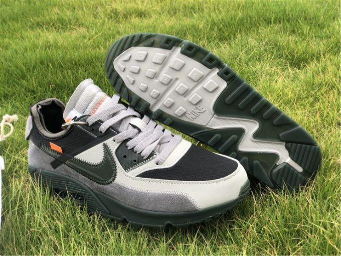 Off-White x Nike Air Max 90 Gris Vert Hommes Chaussures