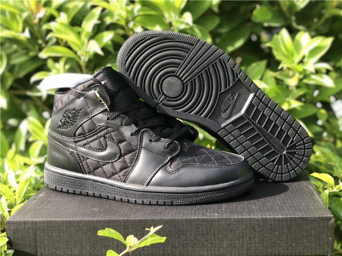 2021 Air Jordan 1 Mid Triple Black Quilted Hot Sale DB6078-001