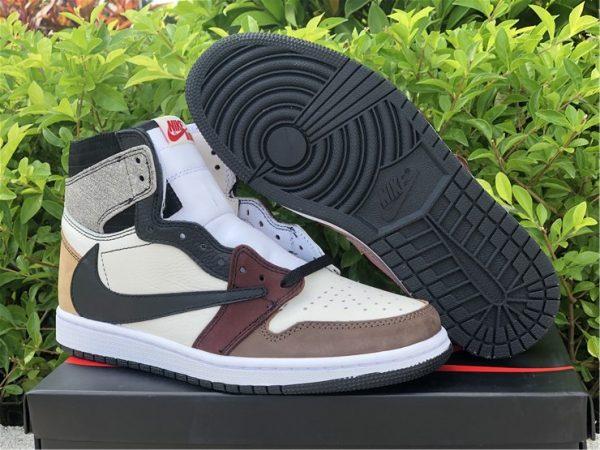 Air Jordan 1 High OG TS SP Black Wine Red Taupe Men's Basketball Shoes