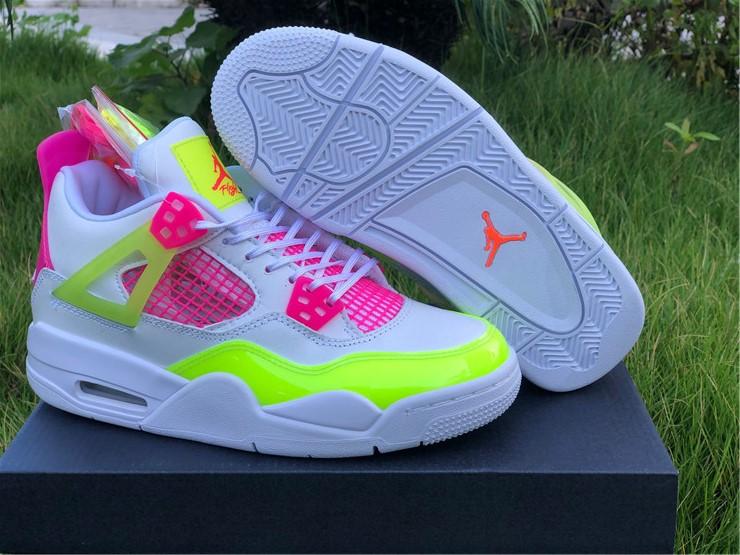 Newest Air Jordan 4 Retro Lemon Venom Pink Girl's Shoes CV7808-100