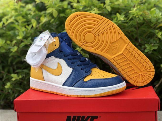 2021 Air Jordan 1 Mid White Yellow North Blue Basketball Shoes CZ6909-100