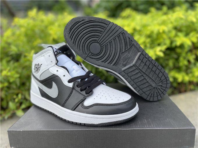 Cheap Air Jordan 1 Mid White Shadow Basketball Shoes 554724-073