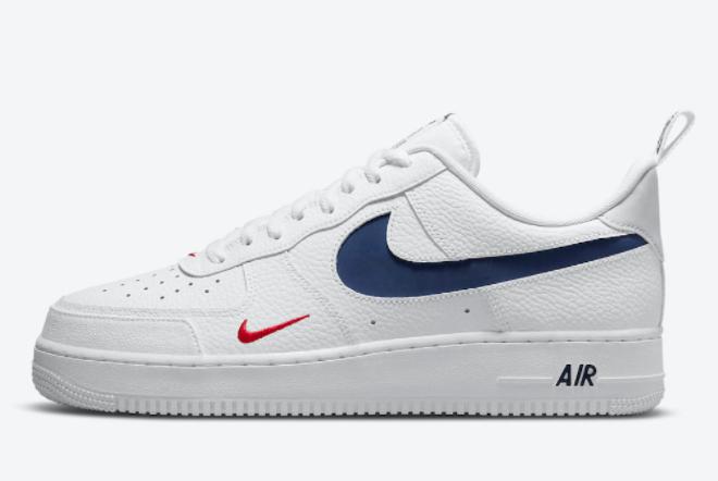 2021 Nike Air Force 1 '07 Low USA White Navy Basketball Sneaker DJ6887-100