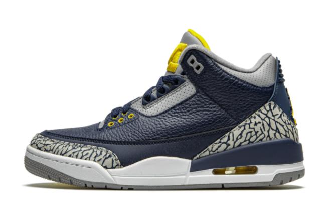 Air Jordan 3 Retro Michigan PE Basketball Sneakers AJ3-820064