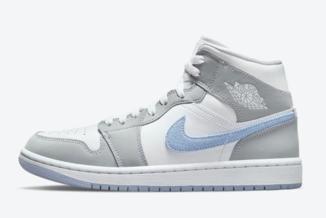 2021 Air Jordan 1 Mid White Grey-Blue in Women's Sizing BQ6472-105