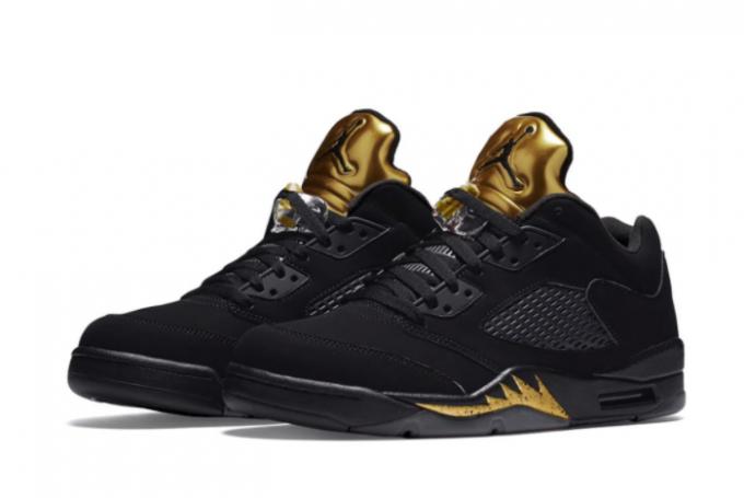 2021 Air Jordan 5 Low Black Metallic Gold Mens Basketball Shoes