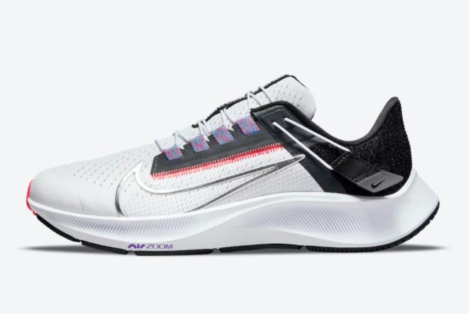 Nike Air Zoom Pegasus 38 FlyEase White/Black-Flash Crimson-Metallic Silver DA6698-101