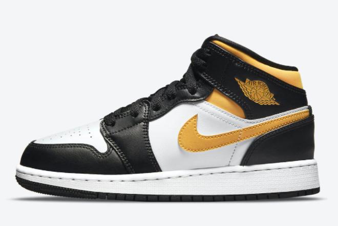 2021 Fashion Shoes Air Jordan 1 Mid GS University Gold 554725-177