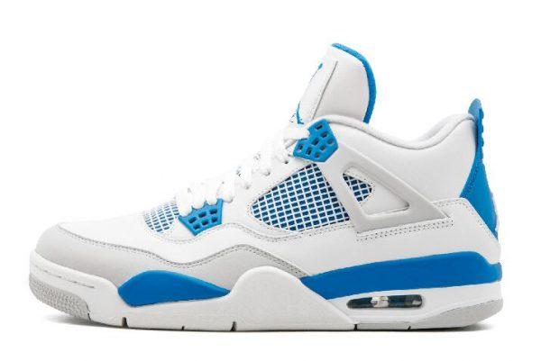 Air Jordan 4 Retro Military Blue Basketball Sneakers 308497-105
