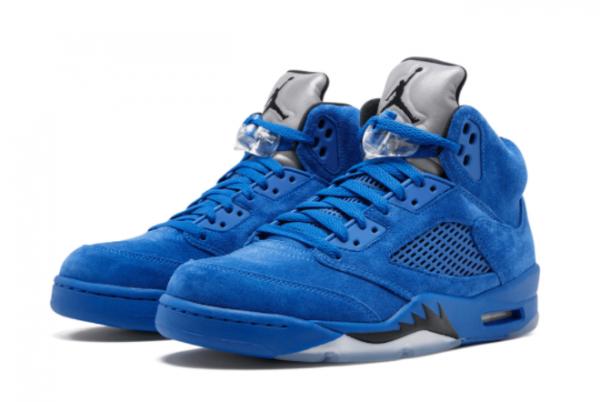 Air Jordan 5 Blue Suede Shoes 136027-401