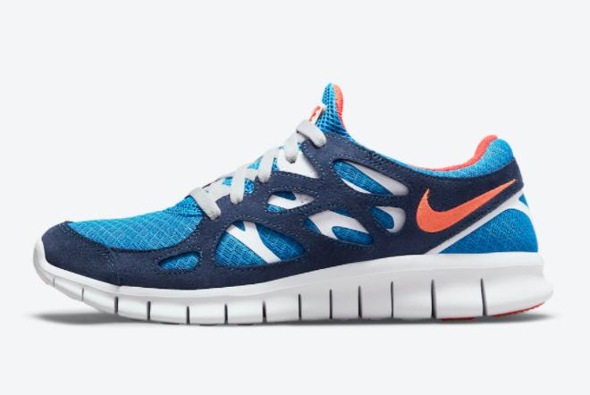 2021 Cheap Price Nike Free Run 2 Navy and Orange 537732-403