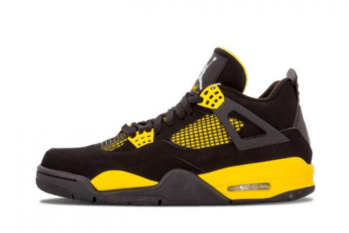 2022 Newest Air Jordan 4 Thunder Black White-Tour Yellow 308497-008