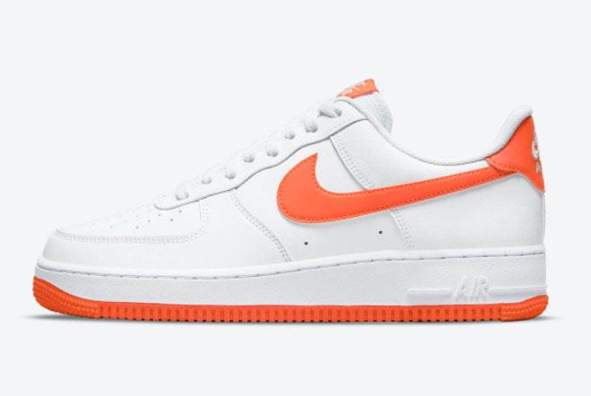 2021 Nike Air Force 1 Low White Orange Sneakers Restock DC2911-101