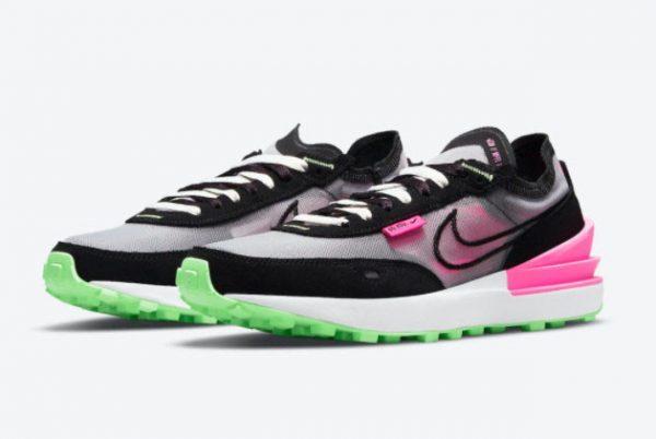 Cheap Nike Waffle One Black Neon Green-Pink DM8143-100-1