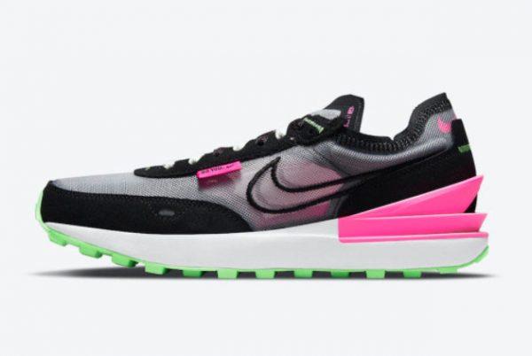 Cheap Nike Waffle One Black Neon Green-Pink DM8143-100